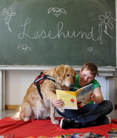 Lesendes Kind mit Hund